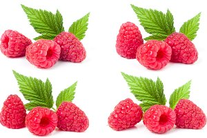 red raspberries with leaves isolated on white background. Set or collection
