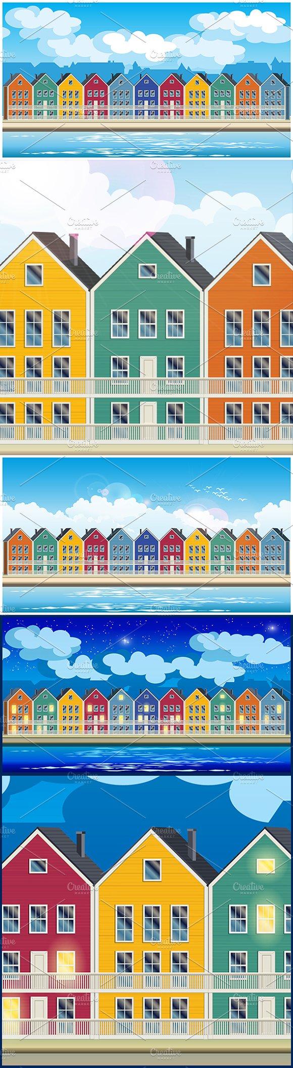 Colorful Townhouses Mini Set
