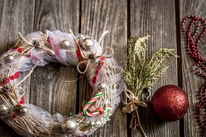 Christmas wreath on wooden background