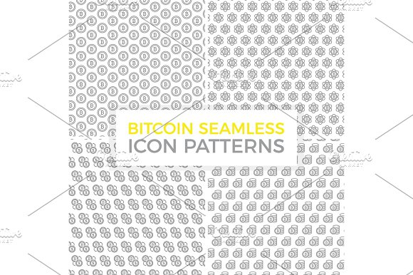 Unique Digital Money And Bitcoin Seamless Pattern With Various Icons And Symbols On White Background Flat Vector Illustration