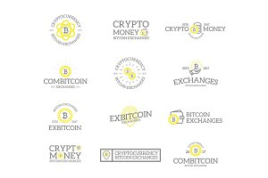 Set of retro vintage bitcoin and cryptocurrency logos or insignias, emblems, labels and badges and other branding objects. Vector line style