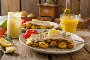 Rainbow trout fillet with roasted potatoes