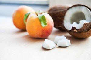 Fresh coconut and peach