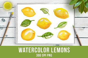 Watercolor Lemons Clipart, Food