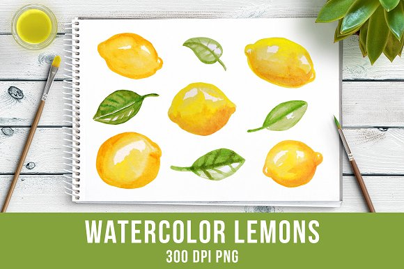 Watercolor Lemons Clipart Food