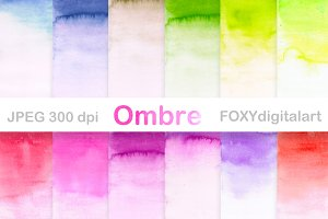 Watercolor ombre digital papers
