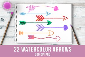 22 Watercolor Arrows Clipart