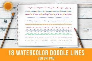 18 Watercolor Doodle Lines Set 1