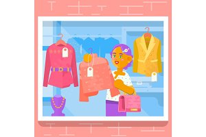 Young girl buying dress at store. Vector illustration