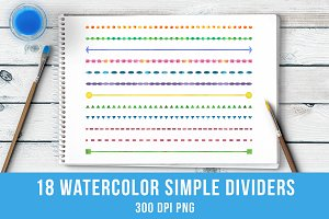 18 Watercolor Simple Line Dividers