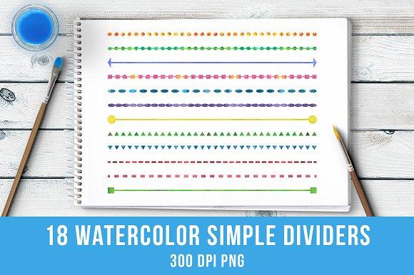 18 Watercolor Simple Line Dividers