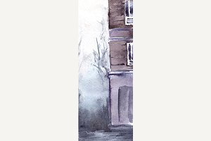 Watercolor rainy street illustration