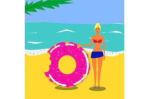 Vector flat illustration. Pretty young girl on a beach near a sea with swim ring donut in swimsuit.