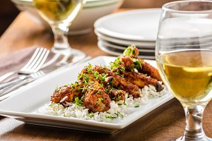 Hot wings with basmati rice