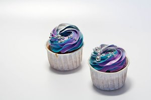 Two Cupcakes on White background