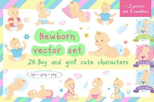 Big set-cute newborn children