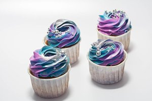 Set of multicolored cupcake