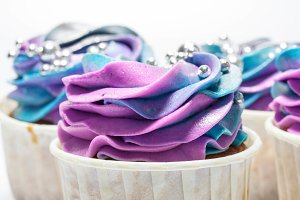 Cupcake with rainbow cream