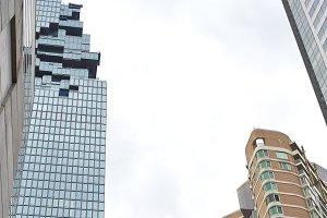 cityscape skyscraper view from under