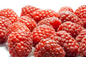 Set of raspberries, enlarged