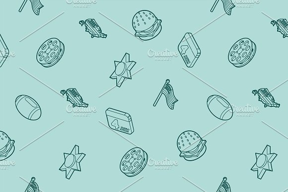 America Outline Isometric Pattern