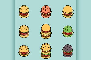 Burgers color icons