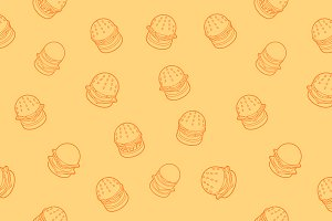 Burgers outline isometric pattern