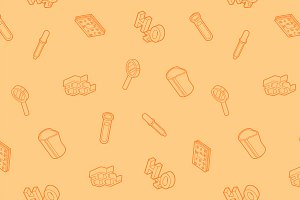 Chemical outline isometric pattern