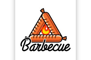 Color vintage barbecue emblem