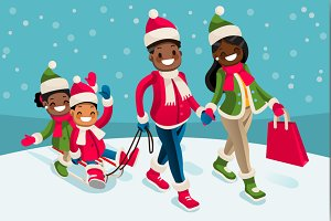 Winter Family Vacations Isometric