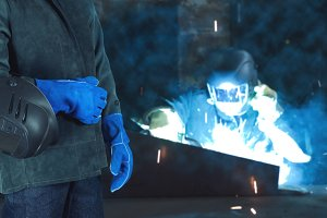 Welder in the factory