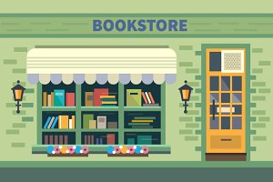 Bookstore. Books, science, knowledge