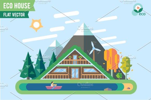 Ecological house. Saving energy - Illustrations