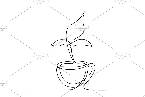 Cup of tea with smell shaped leaf