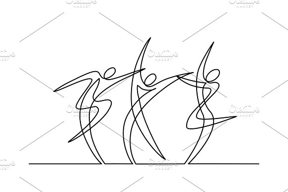 Continuous line drawing of dancers