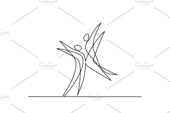 One line drawing abstract dancers in Illustrations