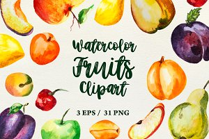 Collection of watercolor fruits