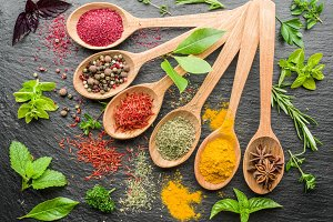 spices in the wooden spoons.