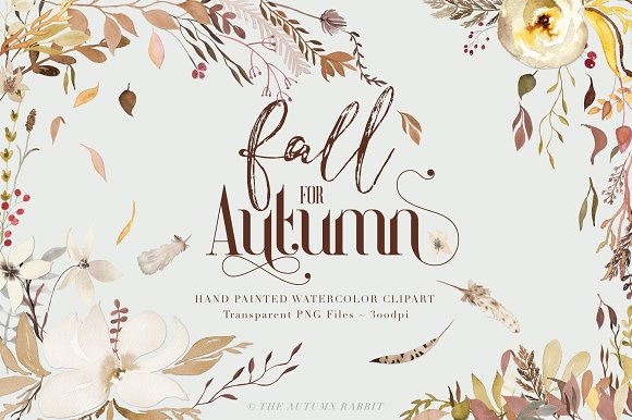 Fall For Autumn Watercolor Clipart