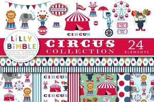 Circus Digital Paper and Clipart