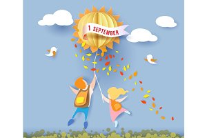 Back to school card with kids, leaves and sun