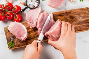 Raw meat, pork tenderloin