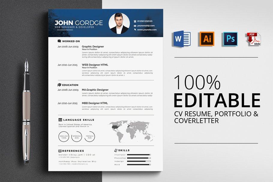 Cv Resume Cover Letter Portfolio Creative Illustrator Templates Creative Market