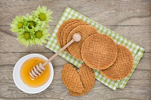 Dutch Waffles with honey