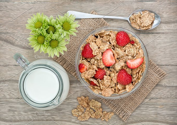 Breakfast with cornflakes and fruit - Food & Drink