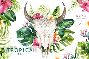 Tropical boho skulls & bouquets