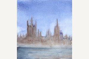 Watercolor fog cityscape art