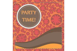 Round frame of brown color over hand drawn elements seamless background. Childish Party Poster. Flyer, Greeting Card, Invitation.
