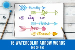 16 Watercolor Arrow Words Clipart