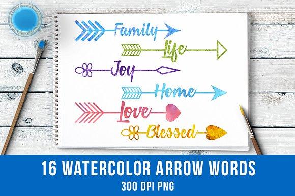 16 Watercolor Arrow Words Clipart